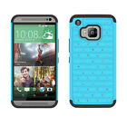 Luxury Dual Layer Rugged Studded Crystal Bling Rubber Case Cover For HTC One M9