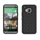 For HTC One M9 Luxury Dual Layer Rugged Studded Crystal Bling Rubber Case Cover