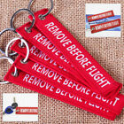 Remove Before Flight Key Chain Luggage Woven Embroidery Keychain Lot or Cloth