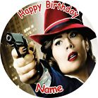 "AGENT CARTER  ROUND 7.5"" CAKE TOPPER ICING OR RICEPAPER"