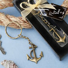 36-144  Brass Color Anchor Metal Key Chain - Nautical Wedding Party Favors