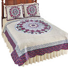 Patchwork Quilt with Floral Medallion Pattern & Scalloped Edges image
