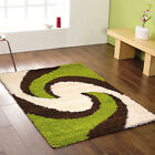 MODERN THICK SWIRL BROWN CHOCOLATE GREEN 5cm SHAGGY CLEARANCE RUGS ON BUDGET