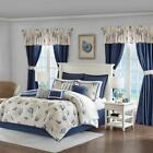 Luxury24pc Coastal Blue Tufted Comforter Set, Sheets, Pillows, Curtains AND More