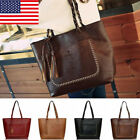 Women's Vintage PU Leather Tote Bags Tassel Large Handbag Fashion Shoulder Bags