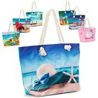 Women's Canvas Tote Shoulder Handbag Travel Shopping Beach Pool Bag New image