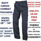 "MENS CARGO COMBAT WORK COLLEGE LEISURE INDUSTRIAL TROUSERS  NAVY 28""- 52"" NEW!!!"