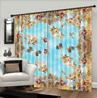 Blue Flying Flowers 3D Blockout Photo Curtain Print Curtains Fabric Kids Window