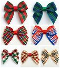 Pack 12 - 4cm Wide Tartan Pre-Tied Bows (15mm Wide Ribbon) Embellishments Crafts