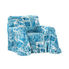 Coastal Décor Blue Ruffled Furniture Throw Cover for Living Room