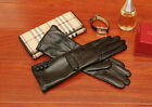 women mid long upper buttons real sheep leather gloves black