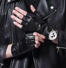 man unlined real leather fingerless with wrist button leather gloves