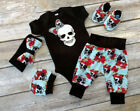 UKStock Newborn Baby Boy Girl Jumpsuit Romper Bodysuit Cotton Clothes Outfit Set