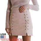 Womens Ladies Lace Up High Waisted Skirt Bodycon Suede Leather Mini Skirt US