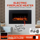 90cm Free Standing / Wall Mounted Electric Fireplace Heater Realistic Log Flame