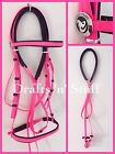 BEST QUALITY NEON PINK SOFT PVC XXF DRAFT DRAUGHT CAVESSON HORSE BRIDLE & REINS