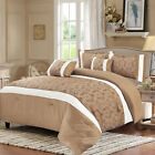 Jacquard 3 Pcs Quilted Bedspread Comforter Set and Matching Curtains King Size image