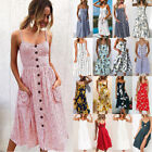 Womens Strappy Bowknot Button Beach Dress Ladies Summer Midi Swing Sun Dresses