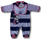Jumpsuit with foot + bib Bimba. MINNIE WD101079. DISNEY BABY Cotton Jersey