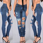 US Women High Waist Ripped Denim Jeans Ripped Holes Skinny Stretch Trouser Pants