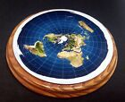 FLAT EARTH MODEL AZIMUTHAL EQUIDISTANT PROJECTION MAP ASH WOOD BASE HAND MADE