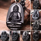 Hand Carved Volcanic Protective Obsidian Buddha Amulet Pendant Necklace Unisex