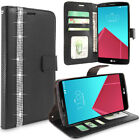 For LG G4 Luxury Leather Card Pocket Wallet Flip Stand Case Cover Tempered Glass