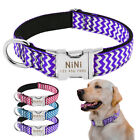 Personalized Nylon Dog Collar for Medium Large Dogs with Name Phone Metal Buckle