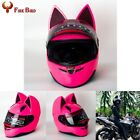 New White Cute Full Face Motorcycle Helmets Cat Ear Horn Motocross HOT Bicycle