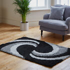 Small X Large Thick Plain Soft Cosy Shaggy Swirl Black Grey 5cm Pile Modern Rugs