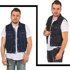 Men's Casual Sleeveless Denim Snap Front Collar Shirt Club Style Vest Jacket