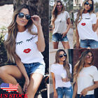 US Summer Women Casual Short Sleeve Loose T-shirt Funny Print Graphic Tee Tops