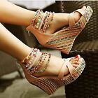 Kyпить Womens Fashion Sandals Wedge Heels Sandal Platform Open Toe Hollow Shoes Size на еВаy.соm