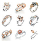Fancy Rings Lot 925 Sterling Silver Charming White Topaz Wedding Party Size 6-10