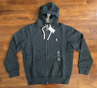 $98 NWT Polo Ralph Lauren Mens Black Heather Full Zip Hoodie Pony Logo Strings
