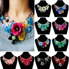 Uk Women Vogue Chain Crystal Flower Statement Bib Chunky Necklace Collar Jewelry