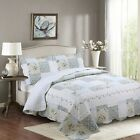 all white linen - Fancy Linen Reversible Bedspread Floral Off White Blue Beige All Sizes New