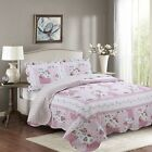 Fancy Linen Reversible Bedspread Floral Pink White Green All Sizes New  image