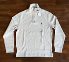 $99 NWT Polo Ralph Lauren Mens Faded Cream Quarter Half Zip Sweater Pony Logo