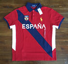 $99 NWT Polo Ralph Lauren Mens Red Spain Espana Mid Pony Logo Shirt Custom Fit