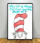 Watercolour Cat in The Hat Print quote prints nursery art children dr suess