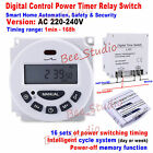DC12V 24V AC110V 220V Digital LCD Programmable Cycle Clock Timer Relay Switch On