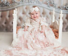 NB-24M Toddler Infant Baby Girls Soft Pink Gown Christening Baptism Lace Dress