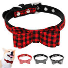 Leather Dog Collar Cute Bow Tie Collar Grid & Stripe for Small Medium Dogs XS S