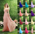 UK Hot Long Chiffon Bridesmaid Dress Formal Wedding Evening Party Gown Prom 6-18