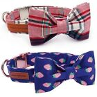 Dog Collar Bow Tie Plaid Pet Cat High Quality Necktie Strawberry Watermelon Pink