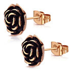 Stainless Steel Vintage Floral Rose Petal Two-Tone Button Stud Post Earrings