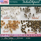 Crimp End Beads ROUND  Silver/Gold/Bronze/Metal  Plated 2 , 2.5 , 3 mm US SELLER