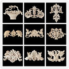 Wood Carved Applique Frame Onlay Corner Furniture Decal Craft Decor Unpainted