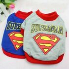 Dog Puppy Cat Shirt Clothes Apparel Costume SUPERMAN Gray Blue For SMALL Pet